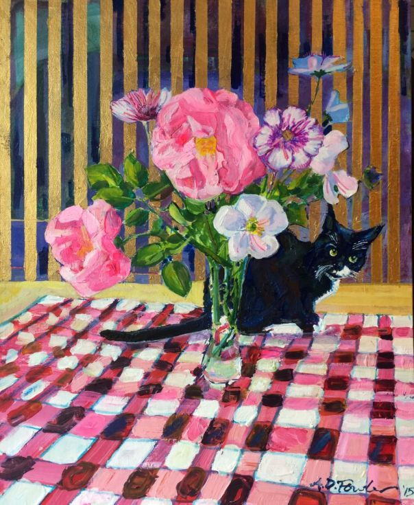 ARTFINDER: Chloe the cat behind the flowers by Anthony Fowler - A trip into fantasy and fact. The painting started as a straight forward study of flowers in an impressionistic technique after completion I found the backgr...
