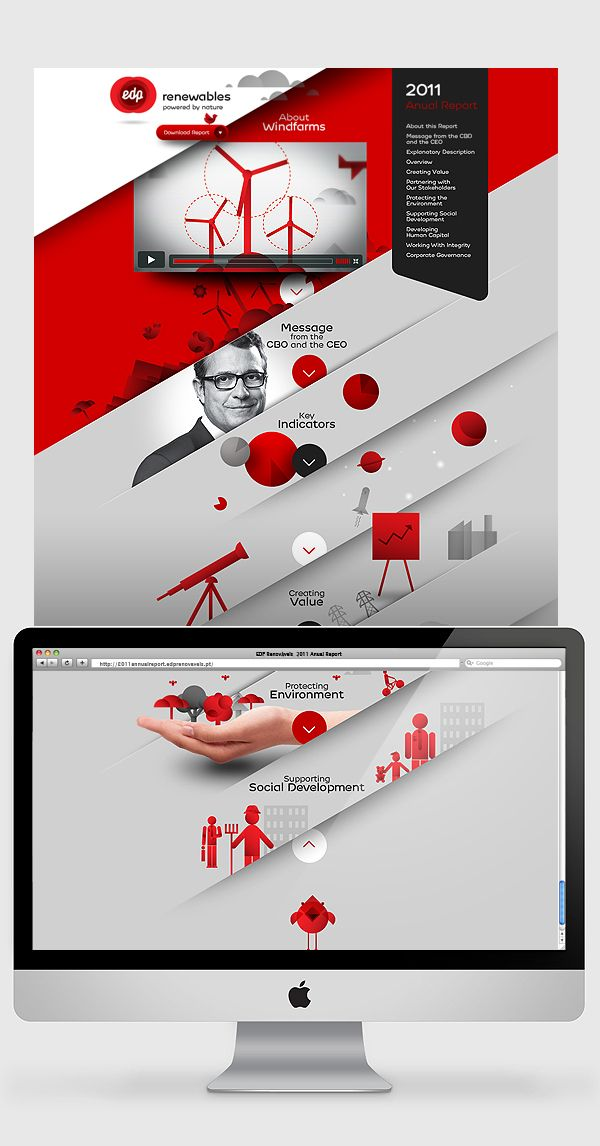 Fantastic way to improve a report, designwise.  EDP Renewables - Annual Report by Sans Xerif , via Behance