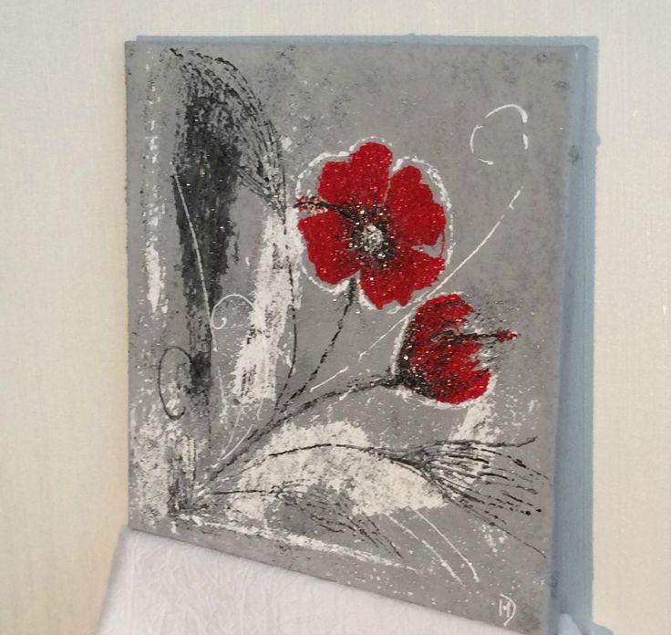 peinture acrylique sur toile fleurs recherche google coquelicots pinterest peinture. Black Bedroom Furniture Sets. Home Design Ideas