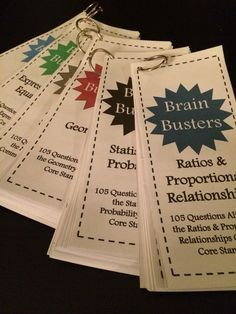 Math Brain Busters Bundle for upper grades! Includes 675 math problems aligned to common core standards. Includes a set for Number Systems, Ratios & Proportional Relationships, Expressions & Equations, Geometry, Statistics & Probability, and a variety pac