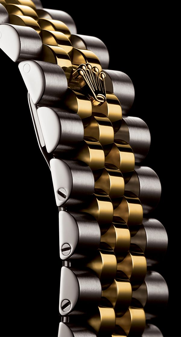 The Rolex Jubilee bracelet. A supple and comfortable five-piece link metal bracelet, designed specially for the launch of the Oyster Perpetual Datejust in 1945 and fitted with Rolex's elegant concealed Crownclasp.