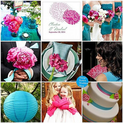 Fuchsia and teal wedding color palette