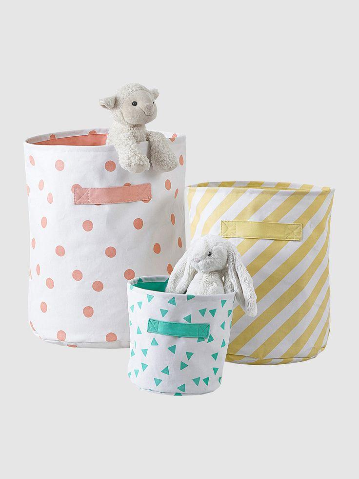 #paniers de #rangement en tissu #home #chambre #déco #enfant #bébé #kidsroom #scandinave - Collection Printemps-Eté 2016 - www.vertbaudet.fr