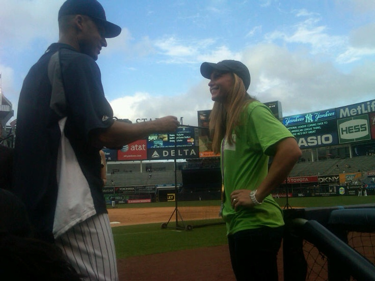 Two captains chat. Derek Jeter and Christie Rampone before a game at Yankees Stadium. (@YankeesPR/Twitter): Derek Jeter, Yankeespr Twitt, Christy Rampon, Yank Stadiums, Yankees Stadiums, Captain Chat