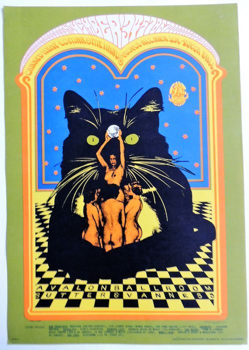 "Rare psychedelic ""Canned Heat"" Dance Concert Poster San Francisco 1967 - W.B."