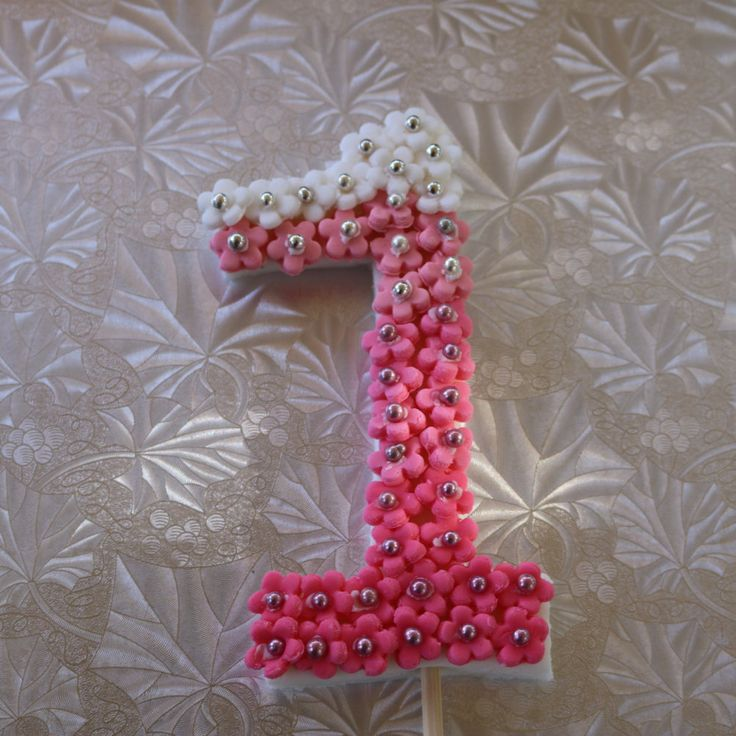 Fondant number birthday cake topper Pink Ombre Effect by HaveSugarWillCreate on Etsy