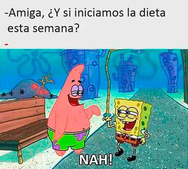 """Los mejores 14 memes de Bob Esponja y Patricio en su modalidad """"Nah"""" -- Meme de domingo"""