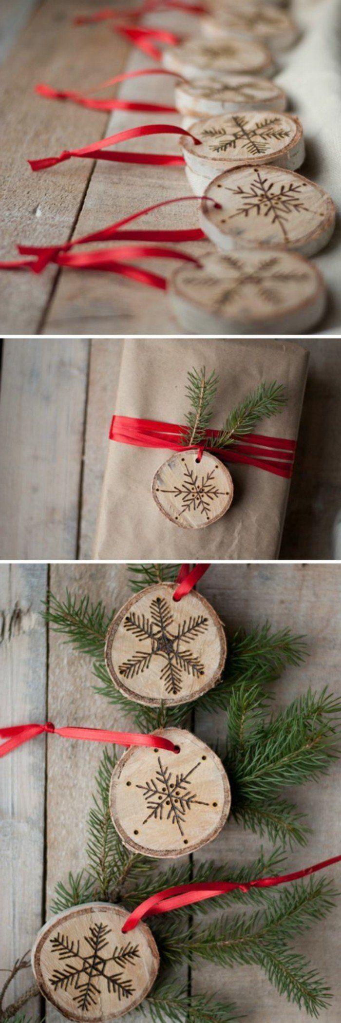 décoration noel, rondelles en bois, modèles de flocons de neige