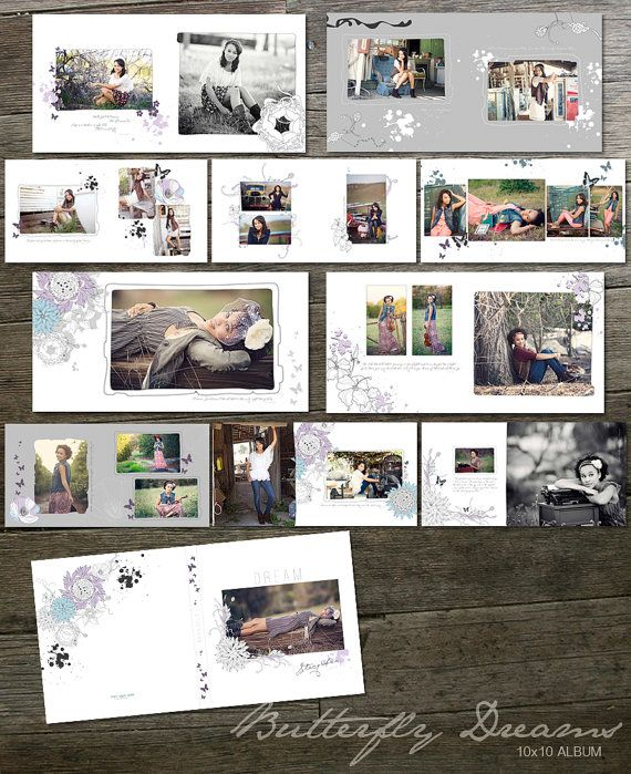 10x10 Album Template  Butterfly Dreams by frankandfrida on Etsy, $40.00