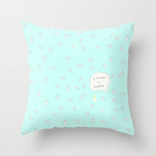 NORMAL IS BORING MINT Throw Pillow by Monika Strigel | Society6