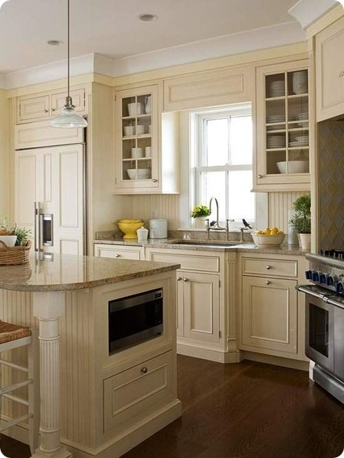 stained kitchen cabinets built in microwave kitchen island bungalow ideas 2461