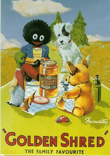 Golden Shred marmalade advertisement, complete with the Robertson Golliwog