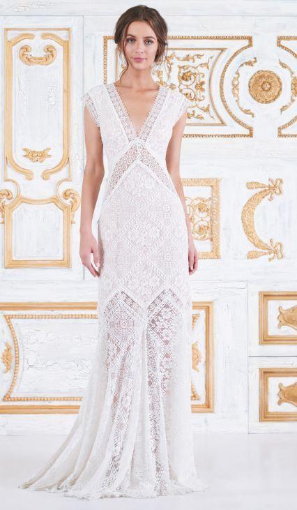 Featured Dress: Tadashi Shoji; Wedding dress idea.
