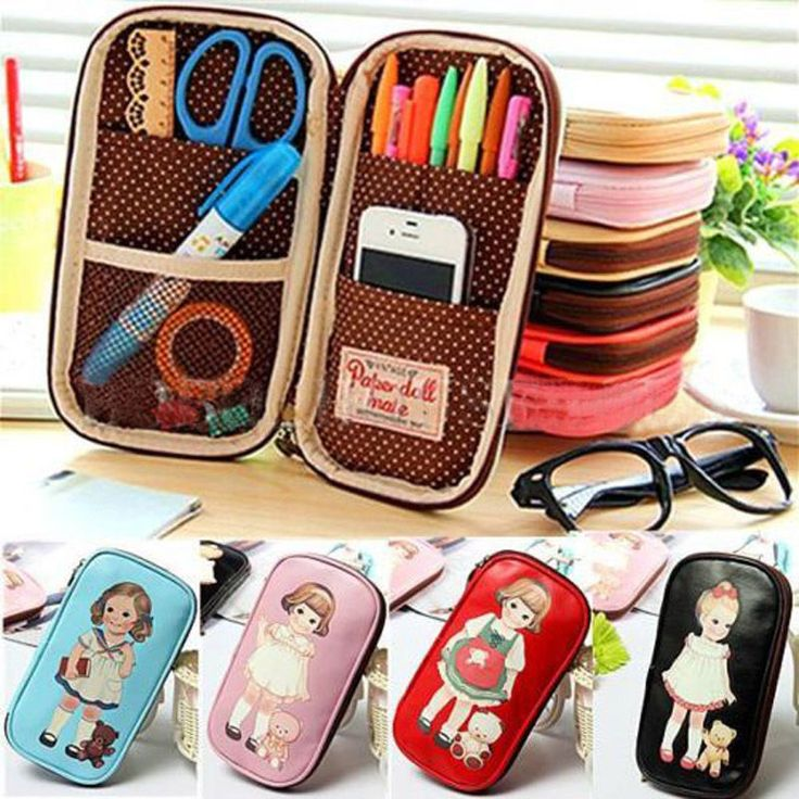 Stationery Lovely Girl Zipper Pen bag Cute Doll Makeup Pencil Case Cosmetic Bag #Unbranded
