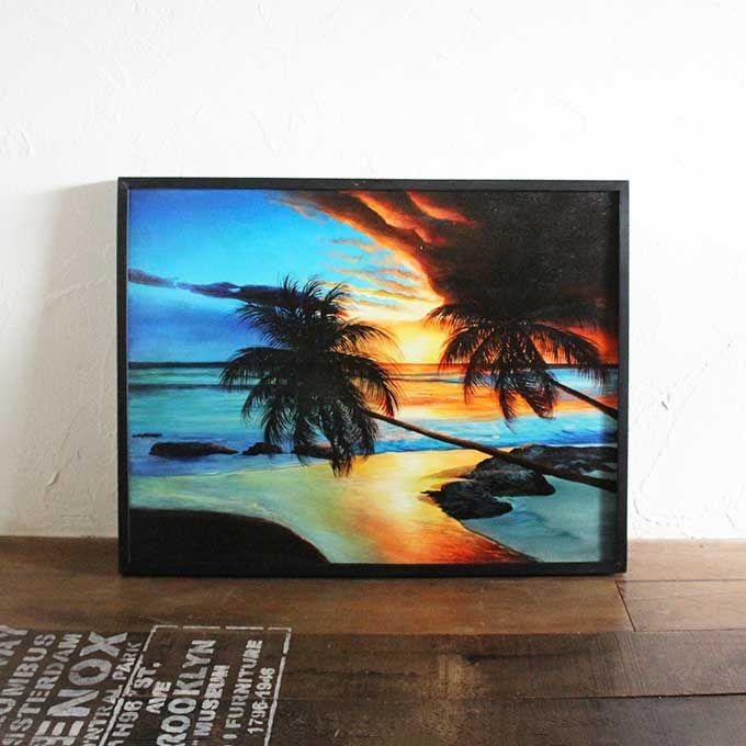 バリ島 海の絵 海 夕日 サンセットビーチ W83×H63 絵画 インテリア バリアート