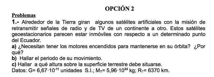 Ejercicios de Gravitación propuestos en el examen PAU de Canarias  de Setiembre de 1998, opción 2.
