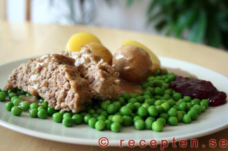 Köttfärslimpa - Recept på den goda klassiska maträtten köttfärslimpa som är mycket enkel att göra. 4 portioner och även recept på brunsås.