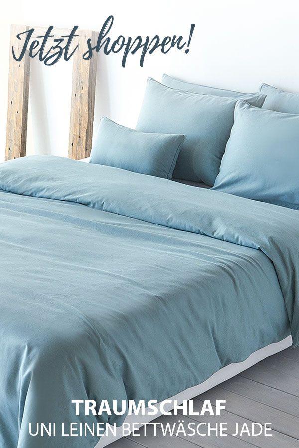 e1a953a1cc17d6 Traumschlaf Uni Leinen Bettwäsche jade in 2019 | UNI Bettwäsche -  Bettwaren-Shop/Traumschlaf | Bed, Comforters und Blanket