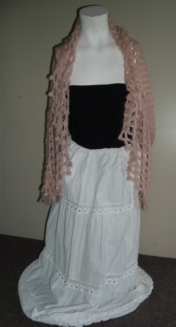 Ping Lacey Cardigan with Dolce and Gabbana Corset Dress and White Gypsy Skirt