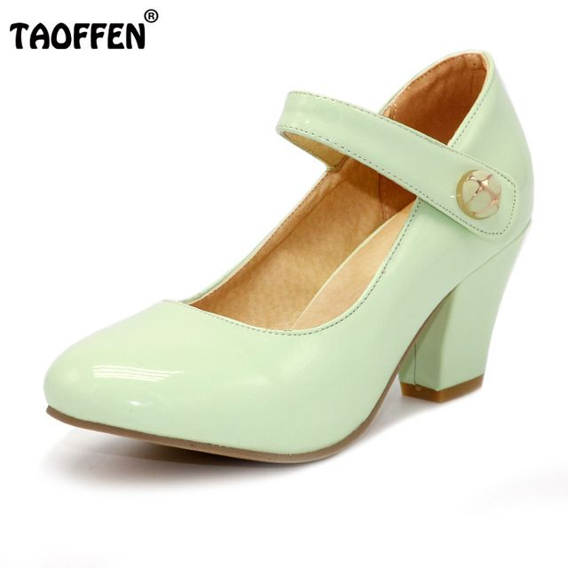 Daily Offers $25.98, Buy TAOFFEN 8 Colors Size 32-48 Lady High Heels Pumps Round Toe Patent Leather Thick High Heeled Shoes Women Candy Colors Footwears