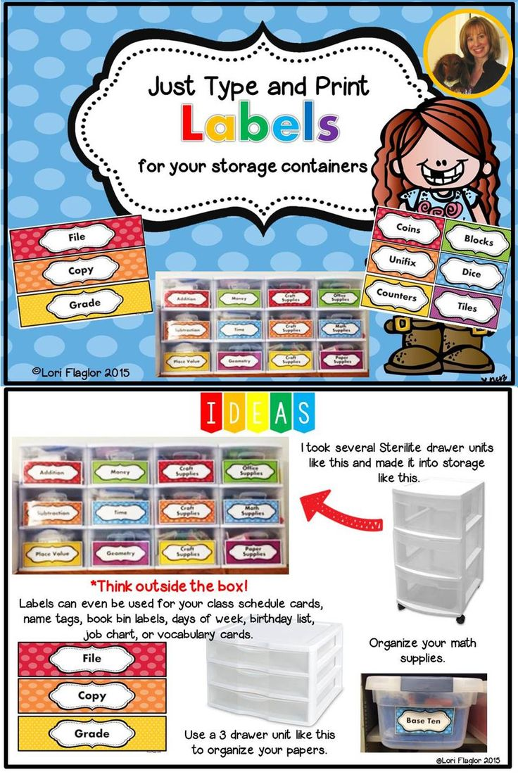 Just type and print these colorful labels and organize all of your storage containers. So easy!