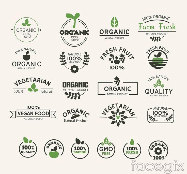 22 natural green food label vector