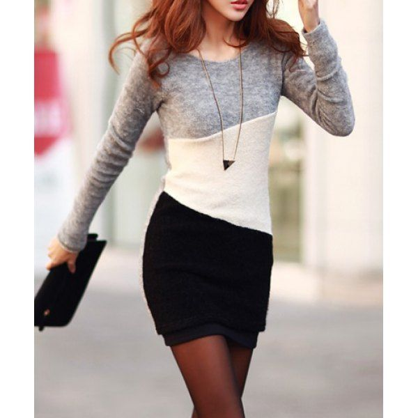 Simple Scoop Neck Long Sleeve Color Blcok Bodycon Women's Dress