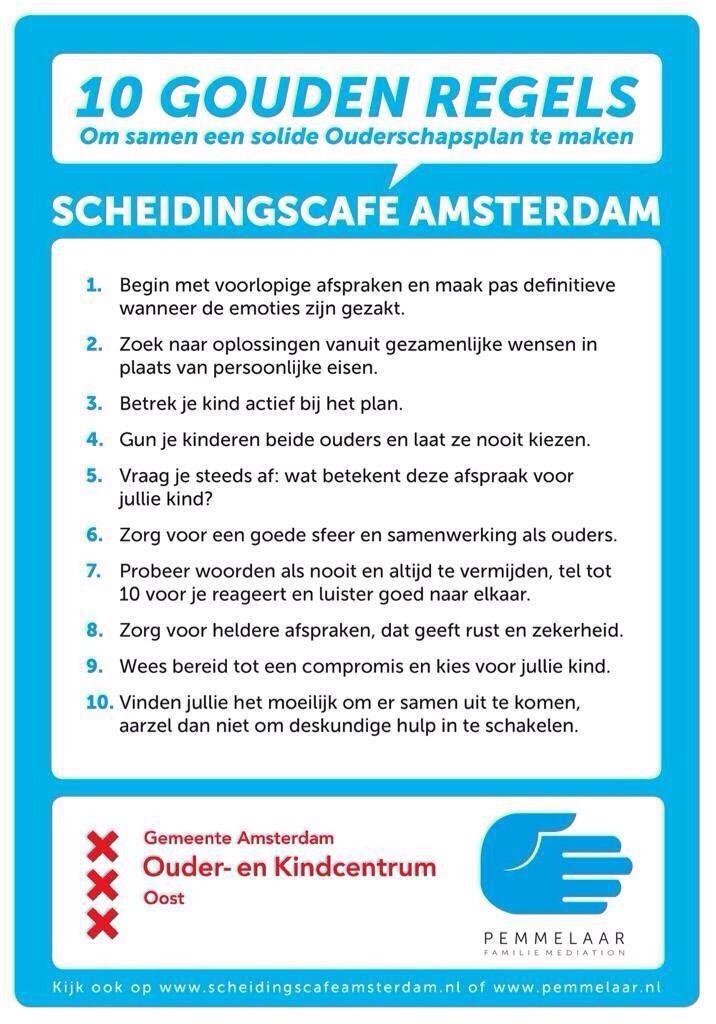 10 gouden regels ouderschapsplan.  Bron: Scheidingscafé Amsterdam