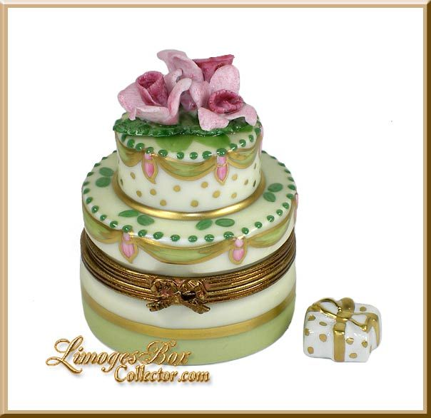 2-Layer Cake with Pink Roses Limoges Box by Beauchamp, www.LimogesBoxCol..., Limoges Box Specialists, Birthday Limoges boxes, gifts for her, Holiday gifts, Limoges collectibles