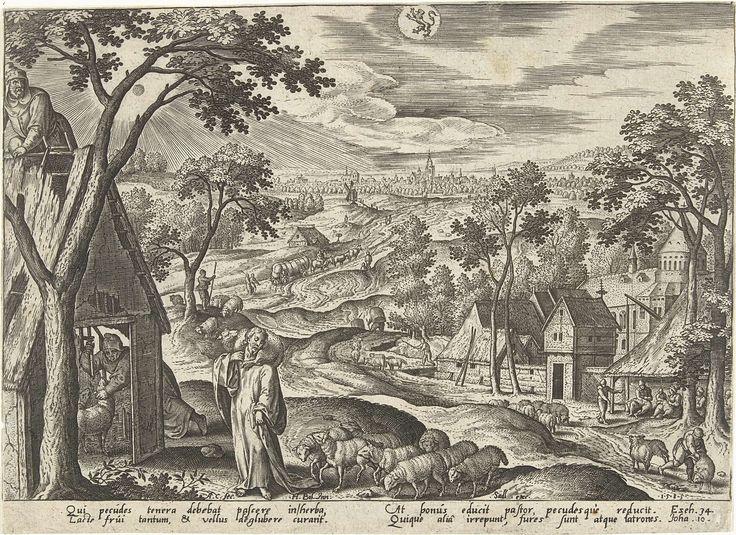 Adriaen Collaert   Juli: de Goede Herder, Adriaen Collaert, Sadeler, 1585   Een zomerlandschap. In de lucht het astrologisch teken van juli: Leeuw. Centraal Christus als de Goede Herder die liefdevol met zijn schapen omgaat (Joh. 10). De prent heeft een Latijns onderschrift en is deel van een serie over het leven van Christus uitgebeeld in de twaalf maanden van het jaar.