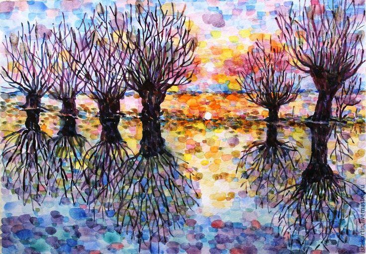 Купить Картина акварелью. Сказочный лес - рыжий, закат, картина в подарок, картина акварелью, полосатый