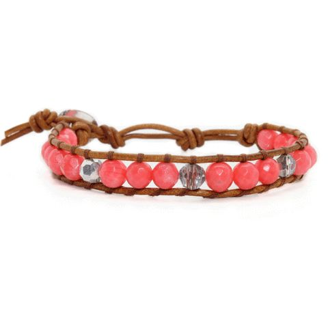 Coral + Silver + Brown Natural Leather
