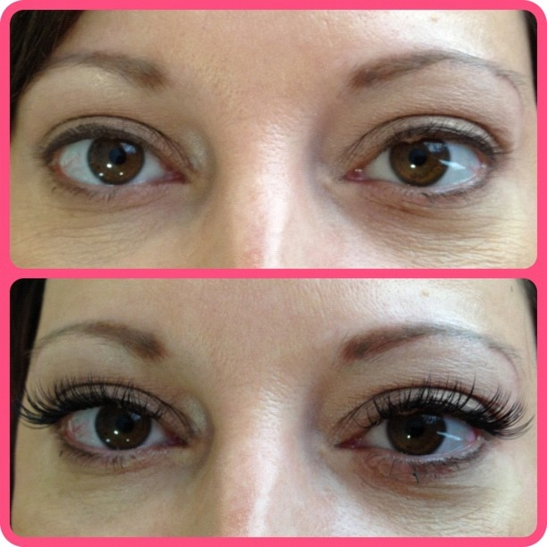 Before and after Xtreme Lashes eyelash extensions by Houston's Trishia Wiggins.