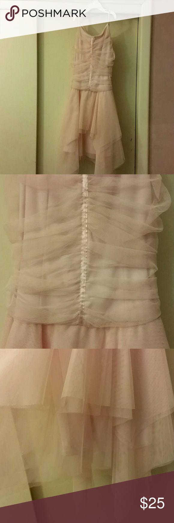 Jessica  McClintock girls dress Pale pink  tulle hankerchief spaghetti straps with satin ribbon belt NWOT. Got forgotten in the closet. Jessica McClintock Dresses Formal