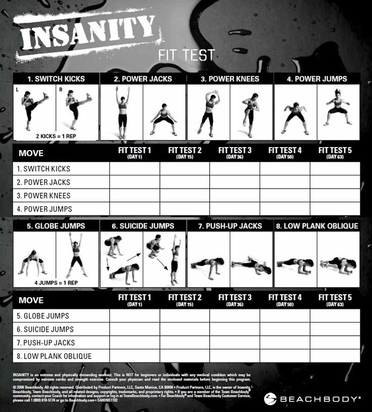 [fitness] Insanity Fit Test - Printable