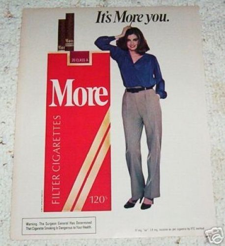 1983 ad page - More Cigarettes sexy girl smoking vintage tobacco ADVERTISING