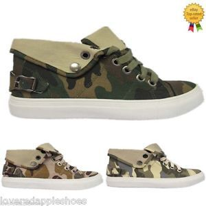 WOMENS-LADIES-GIRLS-SPORTS-TRAINERS-CANVAS-ARMY-CAMOUFLAGE-LACE-UP-SHOES-SIZE