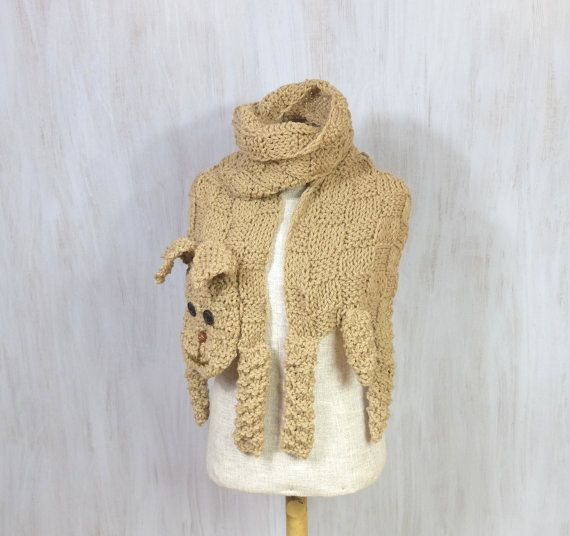 #dog #beige #animal scarf #scarf #winter gift #Christmas gift #dog scarf #tan Very nice and friendly beige acrylic dog! Hand knitted