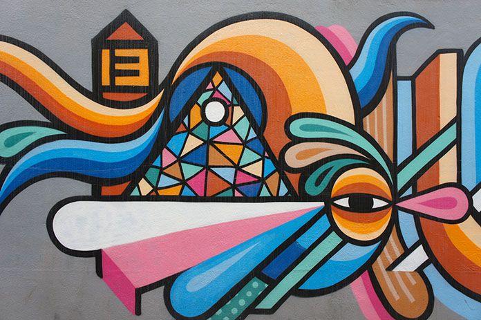 Street art in Penaluna Place, Adelaide, South Australia.