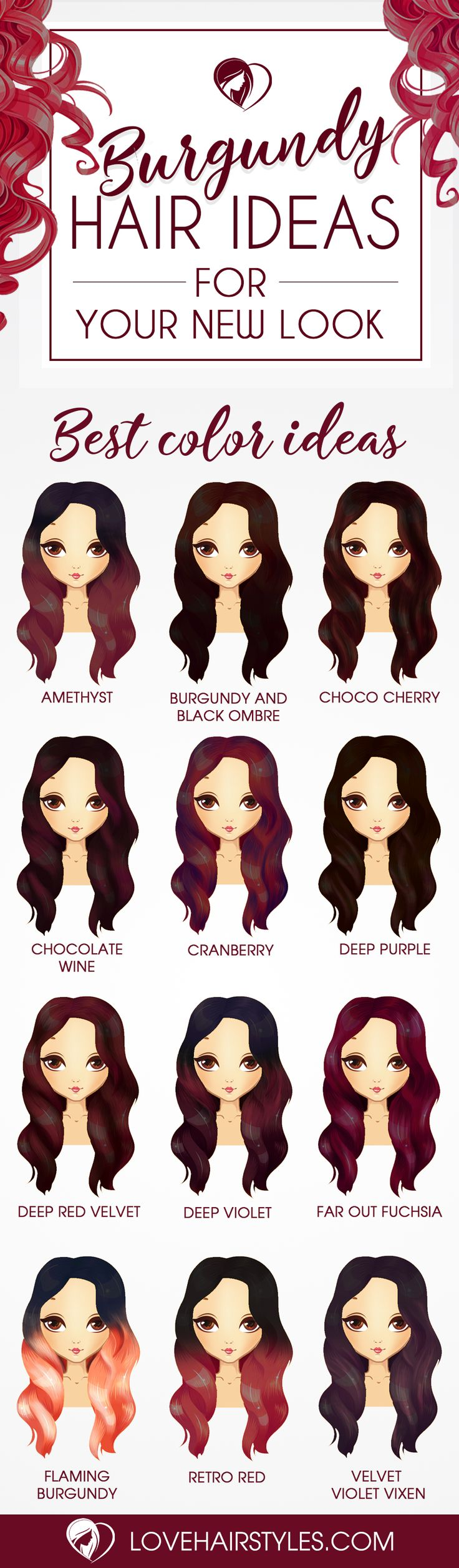 Burgundy hair dye is traditionally used for those with natural brown or black hues. If you are looking for a new hair color, why not try burgundy? As with any red, you will have to touch up your roots when needed and protect your hair by using products designed for color treated hair.