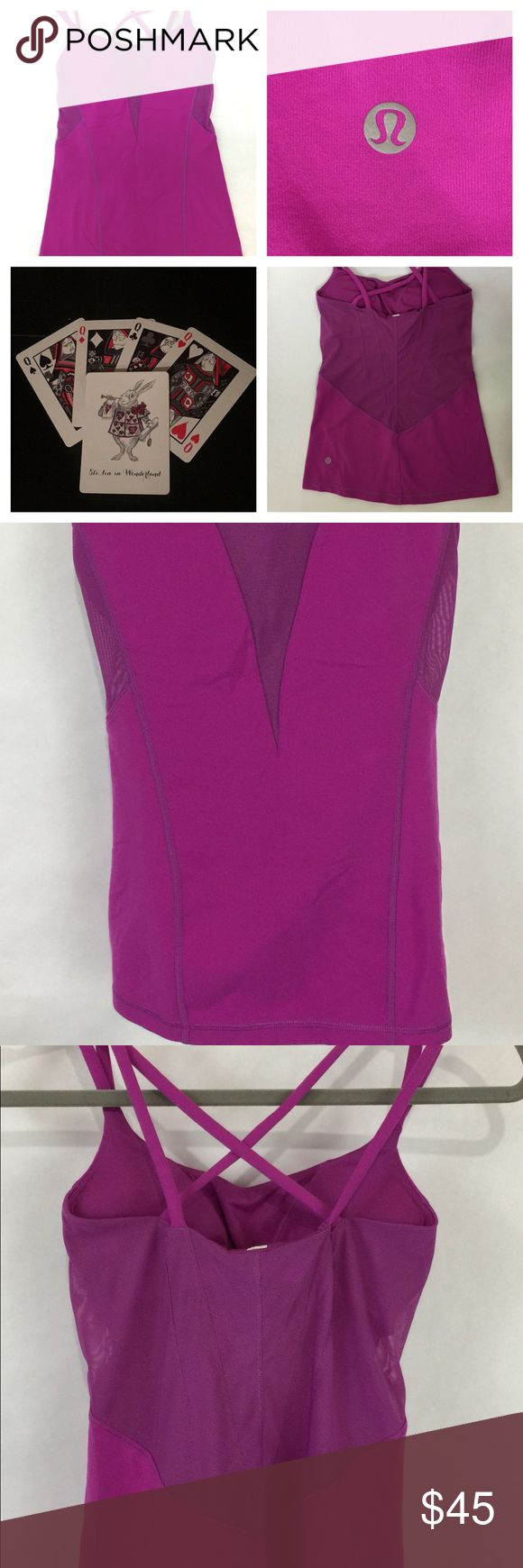 """Lululemon Exquisite Tank Top Sz 4 Ultra Violet * Brand - Lululemon  * Excellent pre owned condition  * Size - 4  * Style - Exquisite Tank Top  * Details - rich pink/purple magenta color with built in bra and bra inserts. Strappy Top with sheer V panel in front and back panel.  * Measurements: laying flat unstretched: armpit to armpit: 13 3/4"""", and armpit to bottom down side seam: 16 1/2"""". lululemon athletica Tops Tank Tops"""