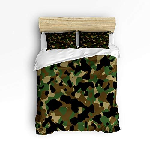 3 Piece Duvet Cover Set Queen Size Camo Duvet Cover With 2 Pillow Shams Forests Military Army Camouflage With Images Comforter Bedding Sets Army Print Military Camouflage