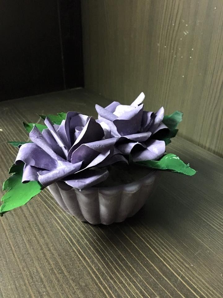 Rose di carta in vasetto