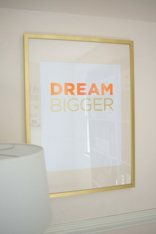 painted gold IKEA Ribba frames + painted mat