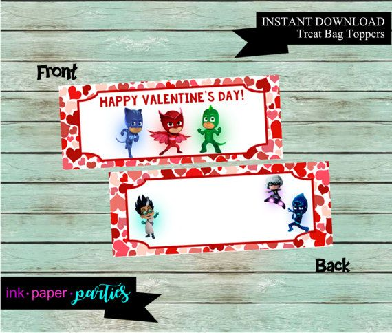 PJ Masks Valentine's Day Bag Topper Kids Valentine Candy Gift Bag Goodie Party Favors