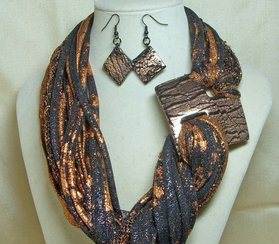 Black and Copper Scarf Necklace with Matching Buckle and Earrings