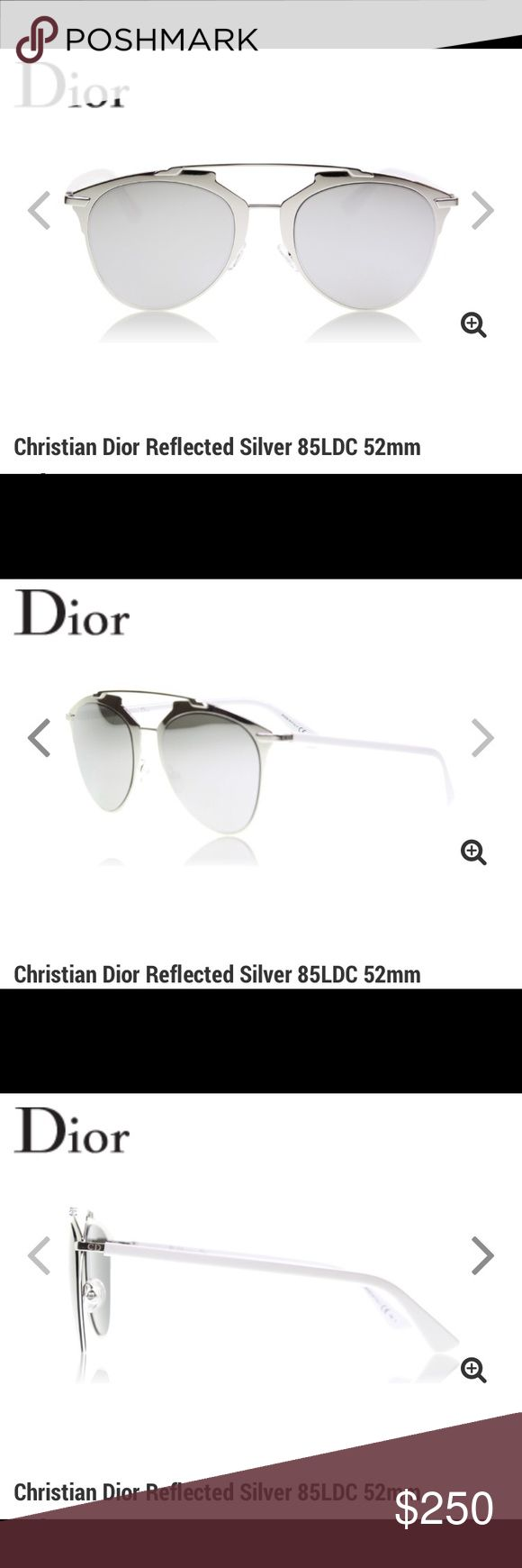 Christian Dior Reflected Silver 85LDC 52mm Dior Reflected evolves from the house's successful So Real sunglass. The silhouette is reinterpreted in clean flat metal and scaled up. Metallic surfaces play off one another. Flawless mirrored lenses complete the frame's futuristic feel. Sleek metal arms are etched with the original CD monogram until recently reserved for the Dior Homme sunglasses line. Handcrafted in Italy. Christian Dior Accessories Sunglasses