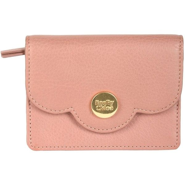See By Chloé Coin Purse ($145) ❤ liked on Polyvore featuring bags, wallets, pastel pink, animal wallet, see by chloe wallet, pink coin purse, pink bag and red wallet