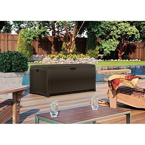 Wicker Deck Box 73 Gallon Poolside Patio Yard Brown Resin Storage Container Bin #Suncast