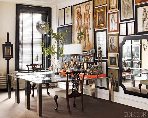 William frowley's warm earthy palette and walls of framed art…in fact, this homeowner/designer likens the frame to frame compositions to wallpaper…from baseboard to ceiling, the frames fit together like pieces of a jigsaw puzzle…